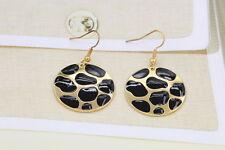 Stylish Alloy Round Shape Enamel Statement Dangle Earring 18K Gold Women Jewelry