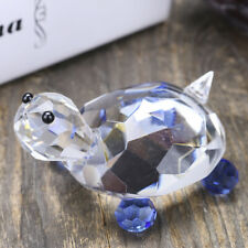 Glass Turtle Figurine Glass Paperweight Blue and Clear Decor Cute Ornament Gift