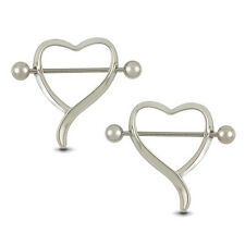 1 Pair Surgical Steel Love Heart Nipple Shield Bar Ring Body Piercing beauty