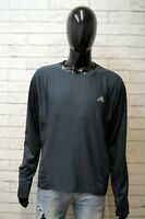 Maglia Grigia Uomo Adidas Taglia XL Polo Manica Lunga Shirt Man Sportiva Casual