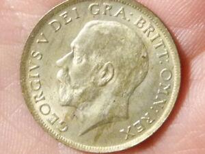 1920 Shilling George V Second Coinage bag marks MINT ERROR PEEL STRIKE  #H48
