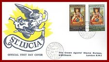 St Lucia 1967 Christmas, Madonna and child, illustr. First day Cover, SG 241-242