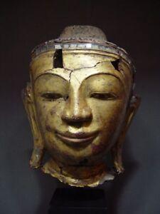 BURMESE DRY LACQUER HEAD OF BUDDHA, FRAGMENT. MANDALAY PERIOD MYANMAR Circa 1860