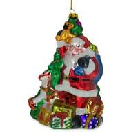 Santa with Gifts by Christmas Tree Glass Christmas Ornament