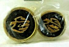 Vintage Pair Of Soaring Flying Eagle Bird Plastic Round Shank Navy Blue Buttons
