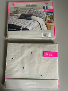 Joules Set Of 2 Dream On Oxford Cotton Pillowcases (neeson Marl Collection) New