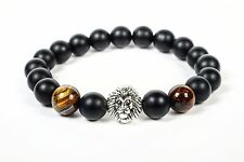 Mens Fashion Beaded Bracelet High Quality Bearing Lion Tiger Eye Black Bead Lux