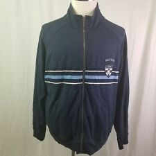 Tommy Hilfiger Mens Full Zip Up Sweater Jacket size L Navy Blue Striped Nice