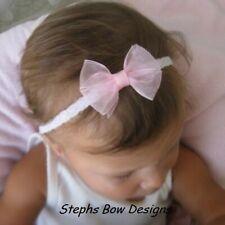 Soft Pink Sheer Dainty Hair Bow Headband 4 Preemie Newborn Baby Toddler Easter