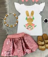 Girl Sequin Easter Bunny Skirt Set Spring Easter Outfit