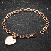 Cute Stamped Heart CZ Silver Rose Gold GP Stainless Steel Bangle Bracelet Gift