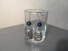 Laurel Burch Anitqued Silver Vintage Lapis Feline Family Cat Dangle Drop Earring