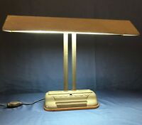 Early Mid-Century Vintage Industrial Metal Desk Lamp Piano Lamp Banker's Lamp