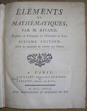 RIVARD ELEMENTS DE MATHEMATIQUES 1768 ALGEBRE GEOMETRIE 13 PLANCHES SCIENCES