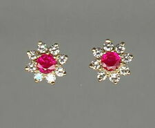 Pair of 18ct yellow gold ruby & diamond cluster stud earrings for pierced ears