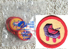 12 CHILD CARE, Girl Scout Red Worlds Explore NEW in 1 DOZ PKG. Badge Multi=1 Shi