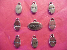 Tibetan Silver Mixed Affirmations/Words Drop Charms 9 per pack