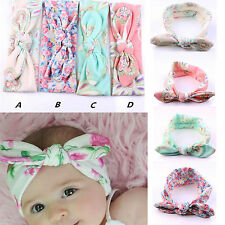 4Pcs Baby Infant Turban Rabbit Ears Headband Flower Hairband BowKnot Head Wrap