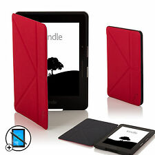 Leather Red Smart Origami Case for Amazon Kindle Voyage + Screen Prot & Stylus