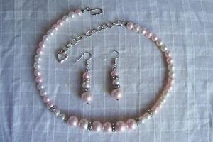 Pink White Faux Pearl Rhinestone Bead Choker Necklace & Earrings Set
