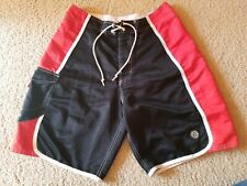 OP Ocean Pacific Men's Black/Red  Board Shorts/Swim Trunks Size 31
