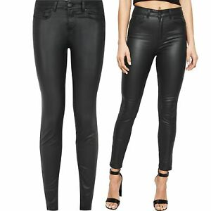 Ladies M&S / New Look High Waist Leather Look Skinny Lift & Shape Stretch Jeans