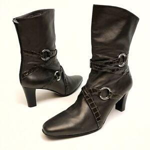 ✅❤️✅@ Brighton Risque Women's Leather Ankle Boots 8 M Metallic Zipper  $330