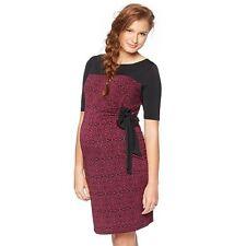 Maternity Sz M Dress Black Wine Oh Baby by Motherhood Elbow Sleeve NWT
