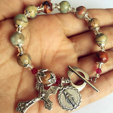 PICASSO BEADS BRACELET ONE DECADE BOX CROSS Sterling Silver flower Travel Rosary
