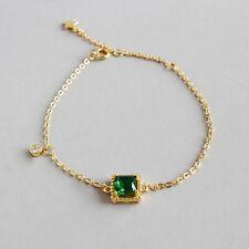 18K Gold Square Emerald Zircon Bracelets for Women 925 Sterling Silver Jewelry