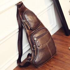Men Vintage Leather Sling Chest Bag Blackpak Crossbody Shoulder Messenger Pack