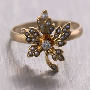 1890's Antique Victorian 10k Yellow Gold 0.04ctw Diamond & Seed Pearl Leaf Ring