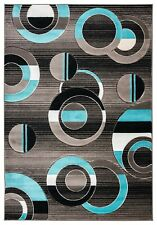 5x8 - AREA RUGS - CARPET - CONTEMPORARY - BLACK AND TURQUOISE - MODERN - NEW