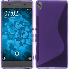 Silikon Hülle für Sony Xperia XA lila S-Style + 2 Schutzfolien