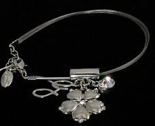 Guess Silver AB Rhinestone Crystal Flower Charm Bracelet Pocket full of Posies