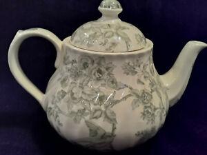 "Barratts England ""Songbirds"" Green Transferware Teapot"