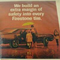 Car Print Ad Full Page Automobile Firestone Safety Tire Umbrella Children A50