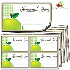 32 Large Apple Jam Jar Labels. Luxury Self Adhesive Stickers For Preserves