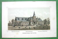 PHILADELPHIA Exhibition Pennsylvania Building - 1876 Original Lithograph Print