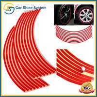 "Motorbike Car Reflective Wheel Rim Trim Tape Sticker Up to 18"" Red Pack of 16 UK"