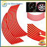 "Motorbike Car Reflective Wheel Rim Trim Tape Sticker Up to 18"" Red Pack of 16 UK"
