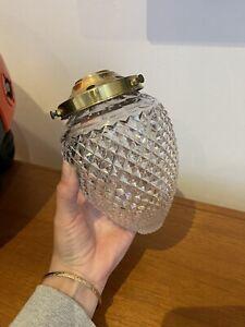 Rare Small Vintage 1920s 1930s Cut Crystal Acorn Pendant Hall Light Shade