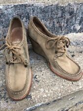 Frye Wedges Shoes Suede Beige Tan Size 10M Used Lace Up Caroline