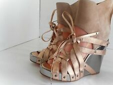 Womens DIESEL BLACK GOLD Multi-Color leather ankle strap wedges sz. 38 NEW!