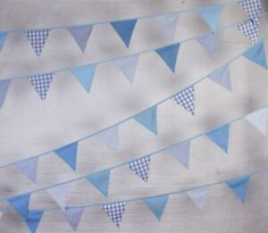 100% Cotton - Shades of Blue - 10m/33 Double Sided Flags - cotton Bunting Co