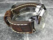 New BIG CROCO 22mm Antique Brown LEATHER STRAP watch Band Beige Stitch BREITLING