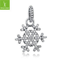 Christmas Snow Flower Dangle Charm Pendant With 925 Sterling Silver Fine Jewelry