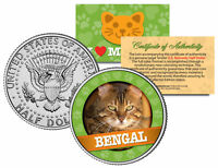 BENGAL Cat JFK Kennedy Half Dollar US Colorized Coin