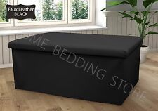 Double Large 2 Seater Ottoman Storage Box Faux Leather Folding Pouffe Seat Stool