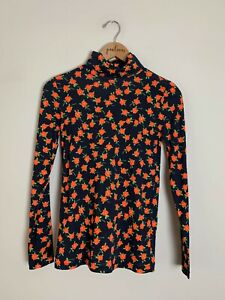 NWT J Crew Navy Blue Red Poppy Print Cotton Turtleneck Shirt Top X-Small XS